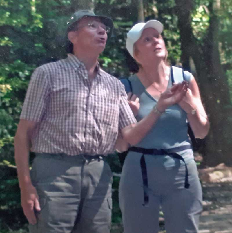 Photo of Bill Bacon and Jane Broomhead at Bingham Linear Park in 2003