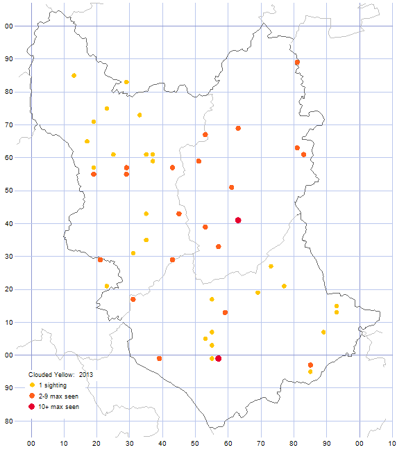 Clouded Yellow distribution map 2013