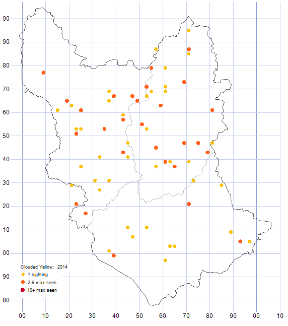 Clouded Yellow distribution map 2014