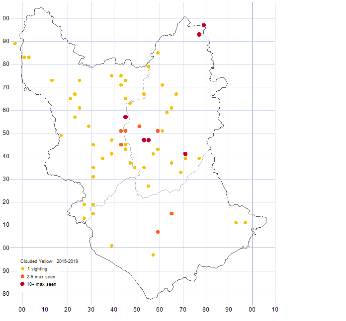 Clouded Yello distribution map 2015-19