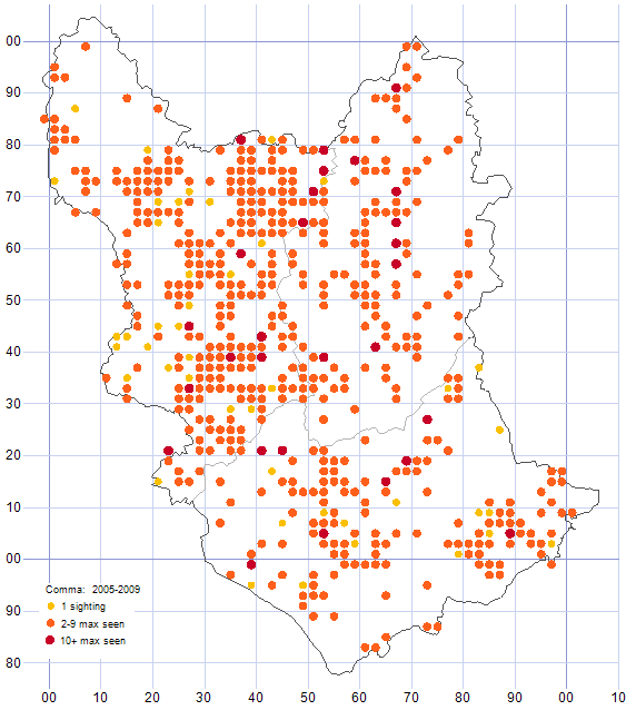 Comma distribution map 2005-09