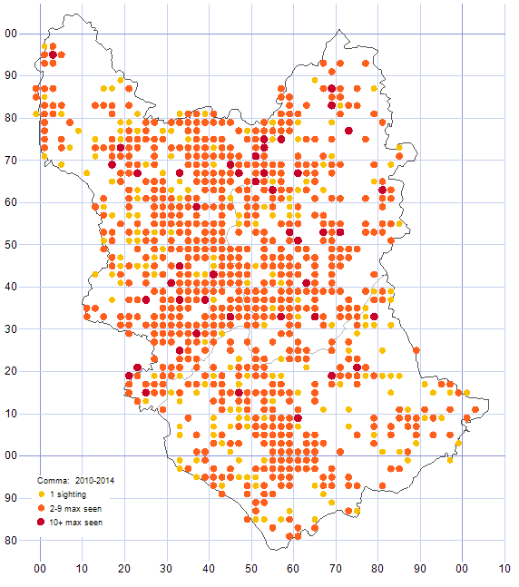 Comma distribution map 2010-14