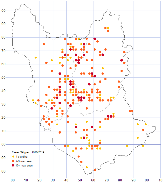 Essex Skipper distribution map 2010-14