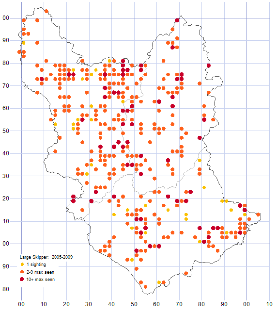 Large Skipper distribution map 2005-09