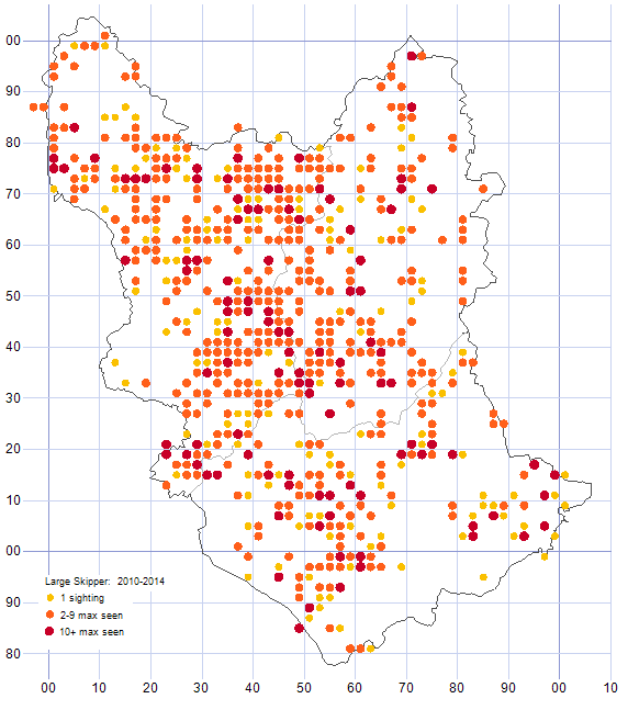 Large Skipper distribution map 2010-14