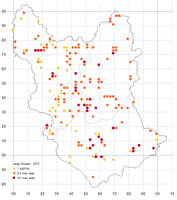 Large Skipper distribution map 2010
