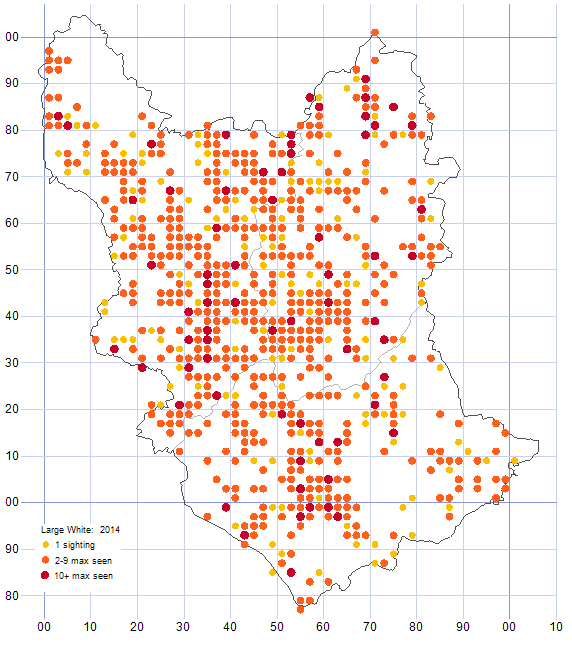 Large White distribution map 2014