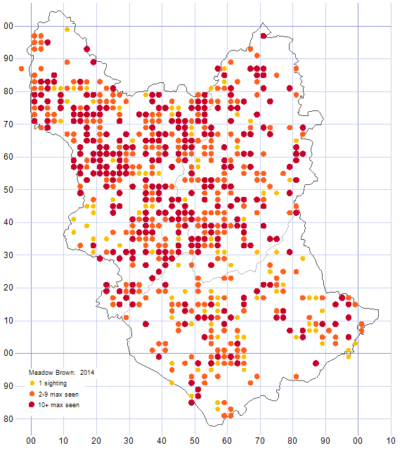 Meadow Brown distribution map 2014
