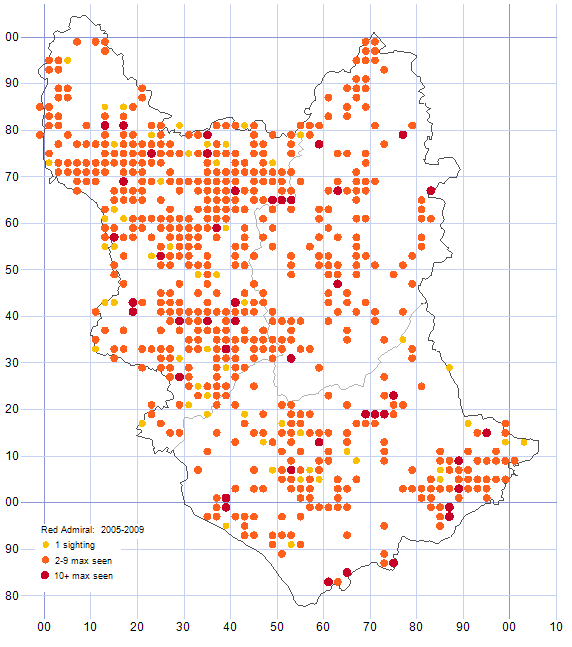 Red Admiral distribution map 2005-09