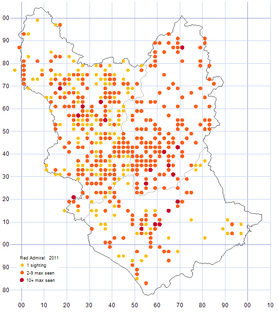 Red Admiral distribution map 2011