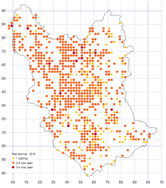 Red Admiral distribution map 2015