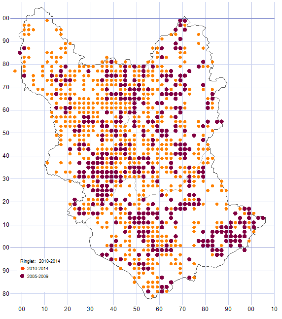 Ringlet distribution map comparison of 2005-09 & 2010-14