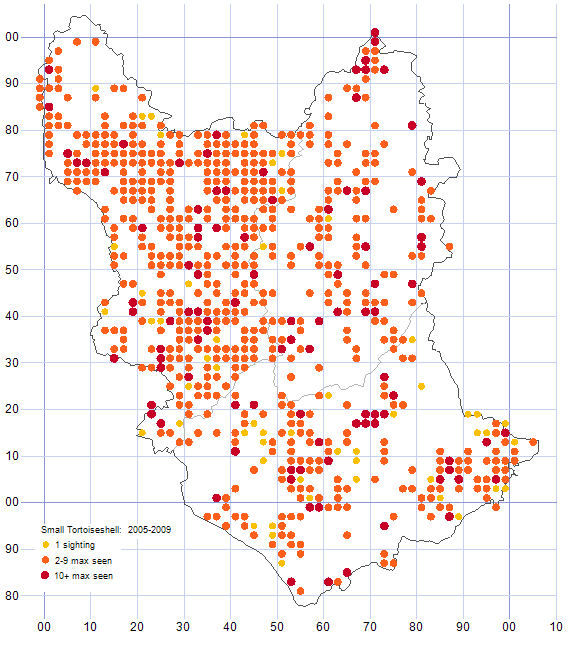 Small Tortoiseshell distribution map 2005-09