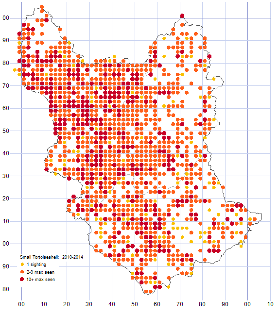 Small Tortoiseshell distribution map 2010-14