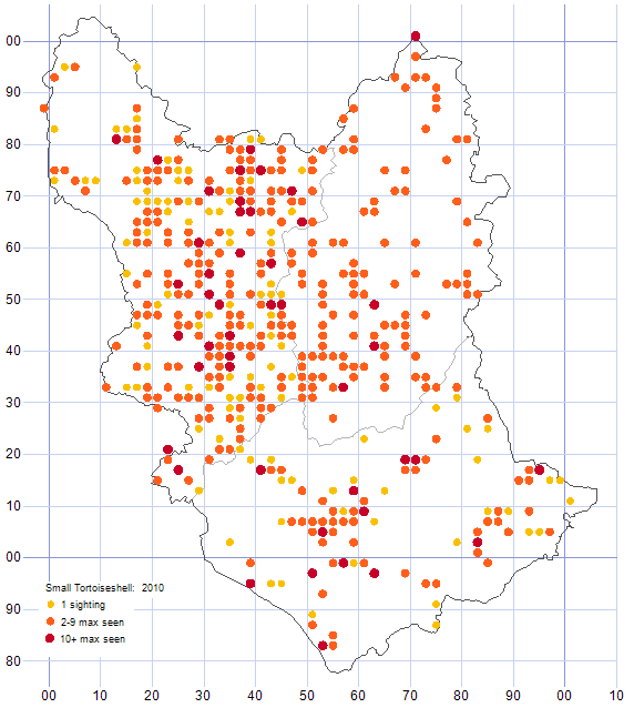 Small Tortoiseshell distribution map 2010