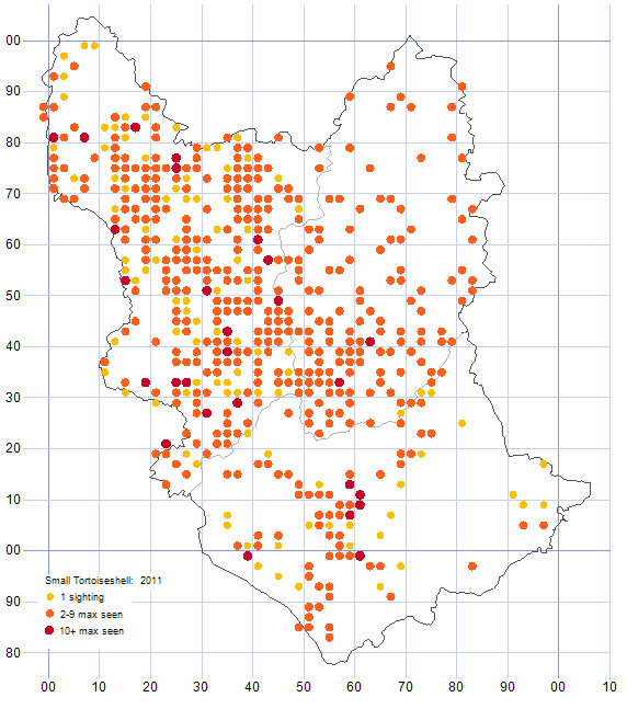 Small Tortoiseshell distribution map 2011