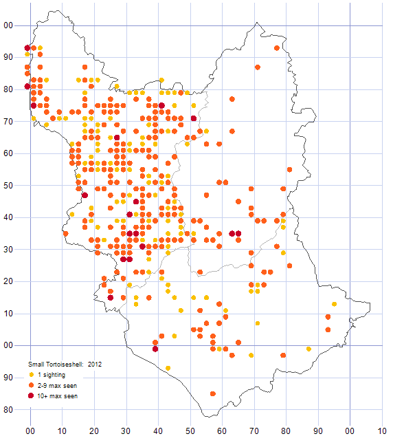 Small Tortoiseshell distribution map 2012