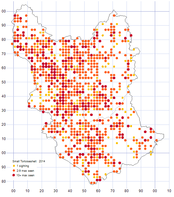 Small Tortoiseshell distribution map 2014