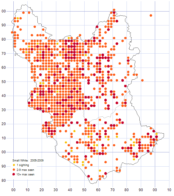Small White distribution map 2005-09