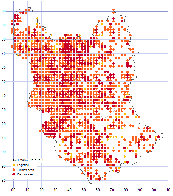 Small White distribution map 2010-14