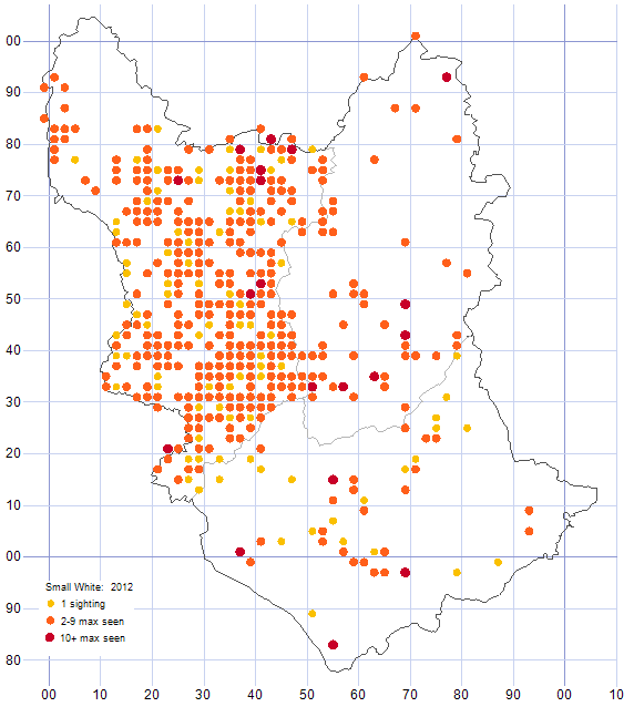 Small White distribution map 2012