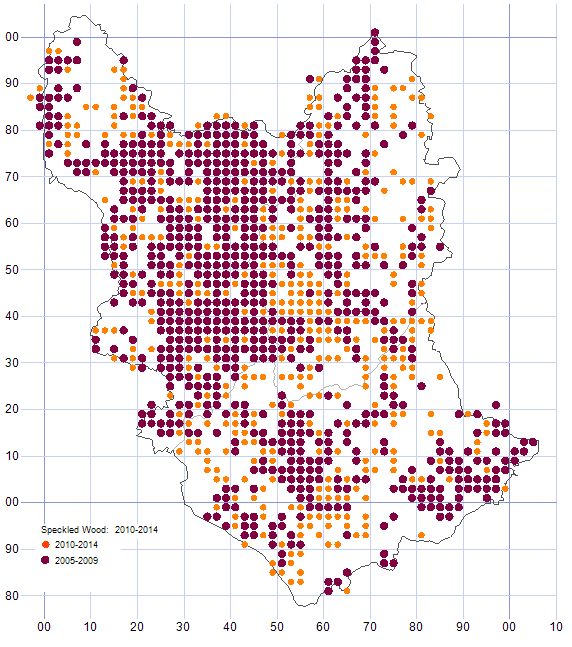 Speckled Wood distribution map comparison of 2005-09 & 2010-14