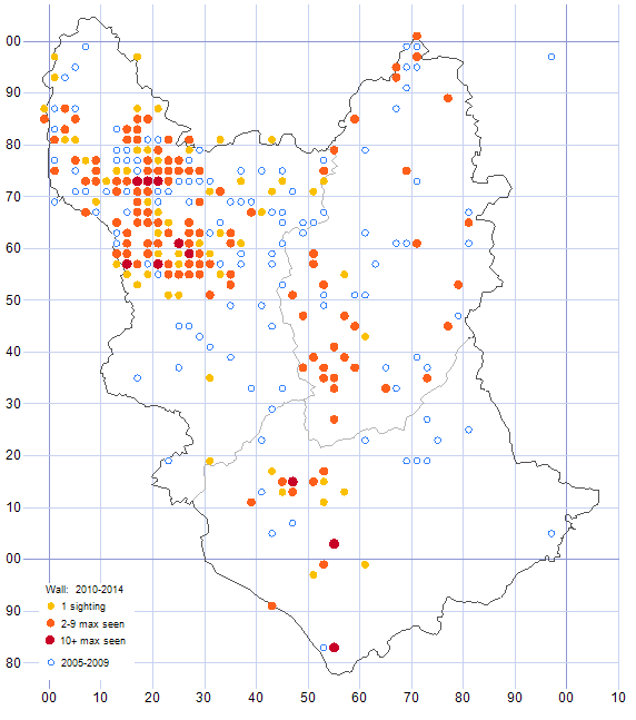 Wall distribution map comparison of 2005-09 & 2010-14